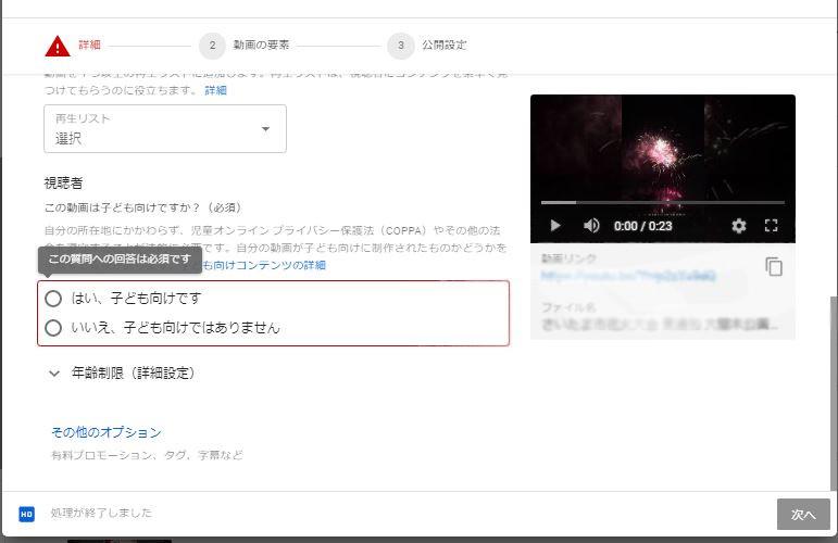 You Tube設定画面